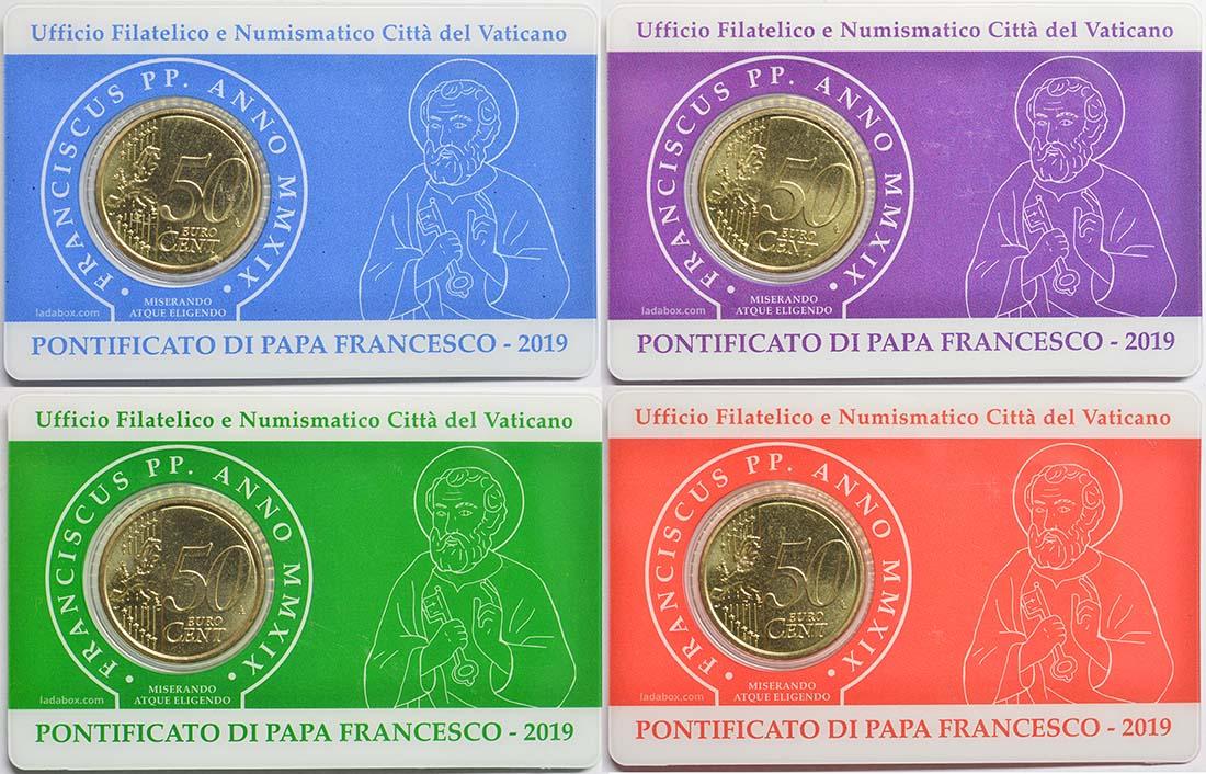 Rückseite:Vatikan : 50 Cent 4x 50 Cent + Briefmarken 1,10 1,15 2,40 3,0 Euro  2019 bfr