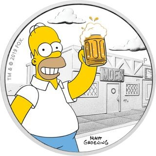 Vorderseite:Tuvalu : 1 Dollar The Simpsons - Homer  1 oz  2019 PP