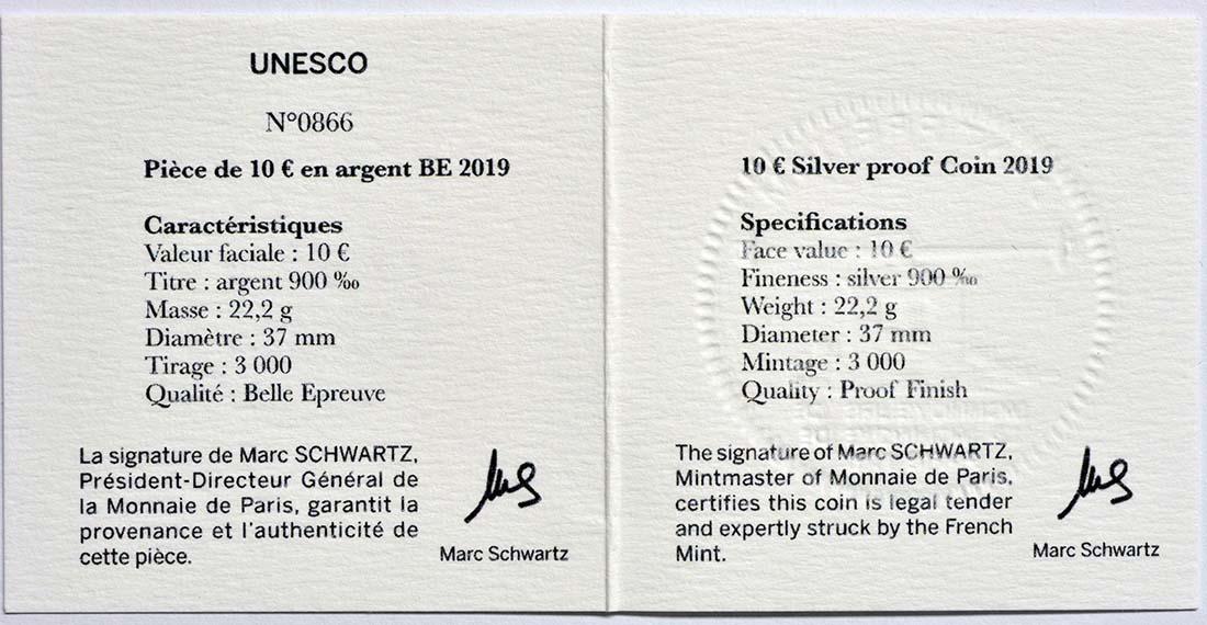 Zertifikat:Frankreich : 10 Euro Der Turm von Belem / Vasco da Gama  2019 PP