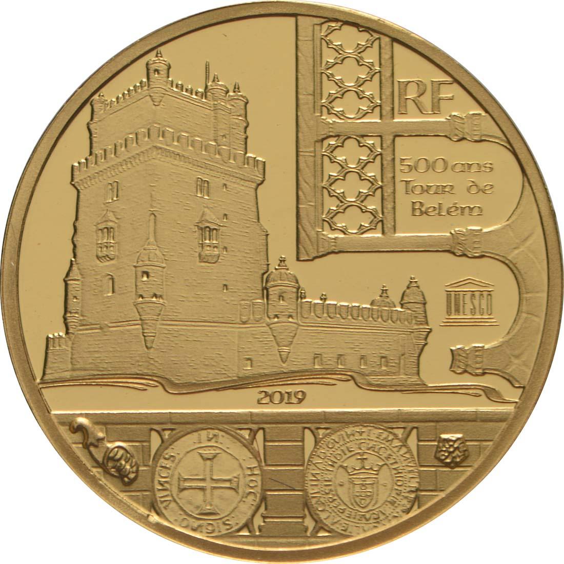 Rückseite:Frankreich : 5 Euro Der Turm von Belem / Vasco da Gama  2019 PP