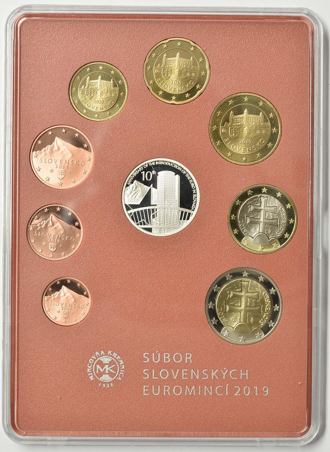 Rückseite:Slowakei : 3,88 Euro KMS Slowakei 10 J. Euroeinführung  2019 PP