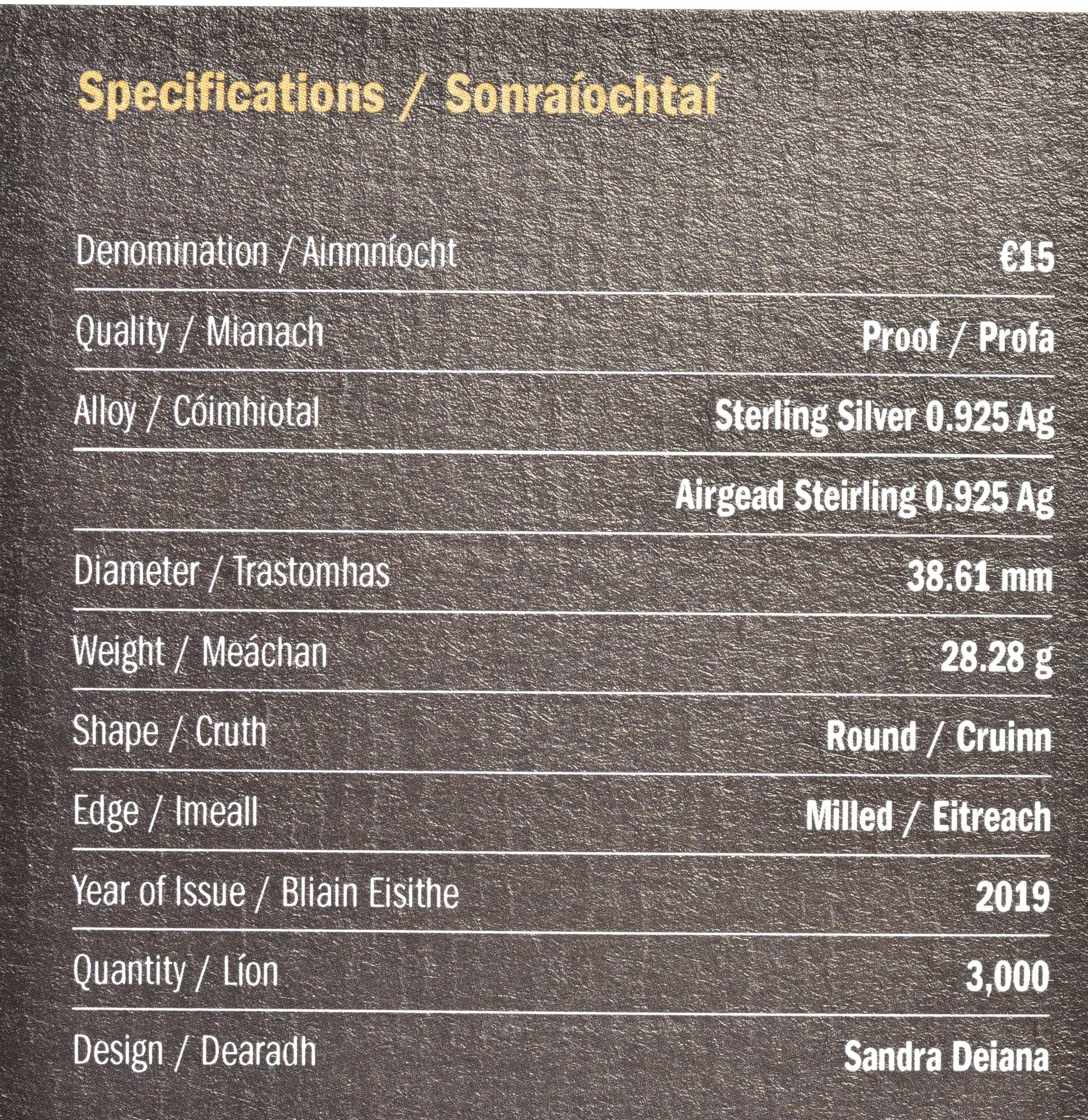 Zertifikat:Irland : 15 Euro Phil Lynott  2019 PP