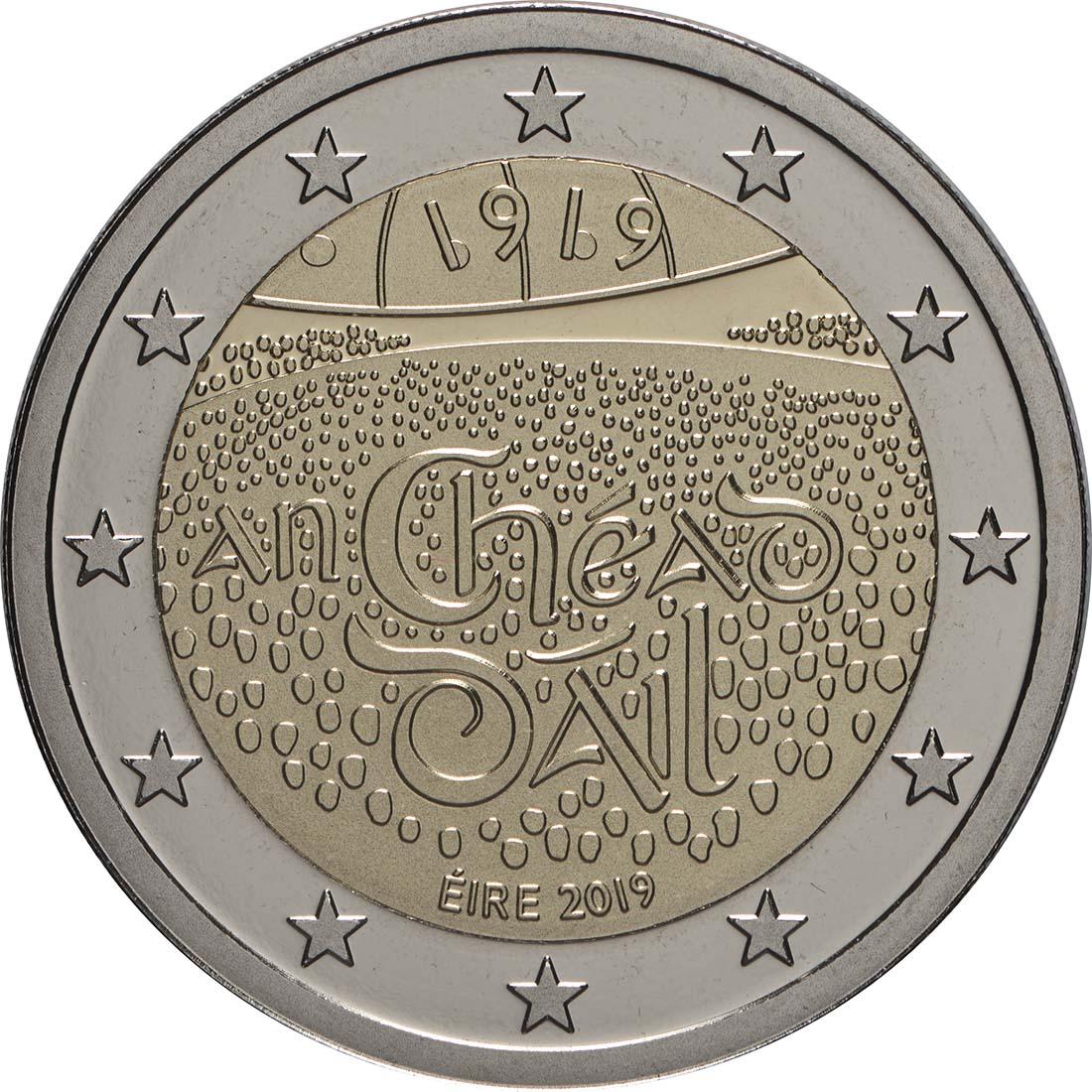 Rückseite:Irland : 5,88 Euro KMS Irland inkl. 2 Euro Gedenkmünze Dail Eireann  2019 PP