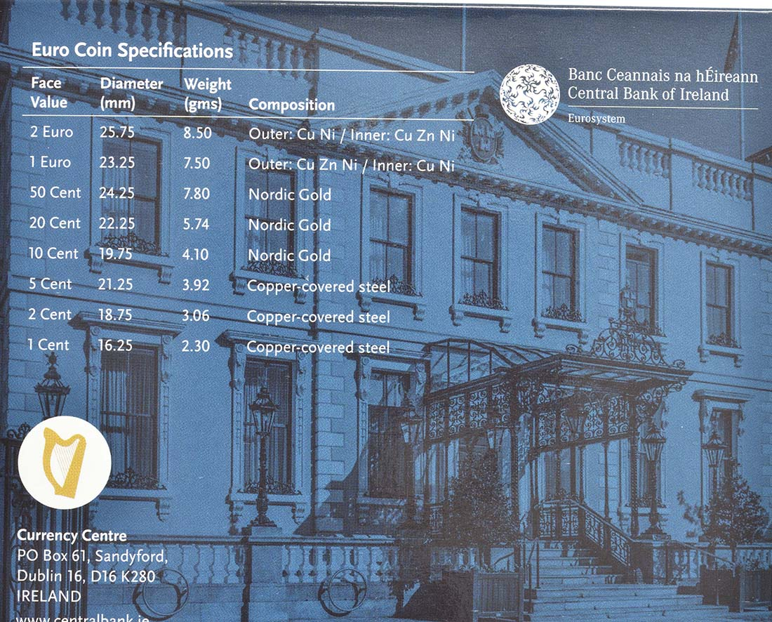 Zertifikat:Irland : 5,88 Euro KMS Irland inkl. 2 Euro Gedenkmünze Dail Eireann  2019 Stgl.