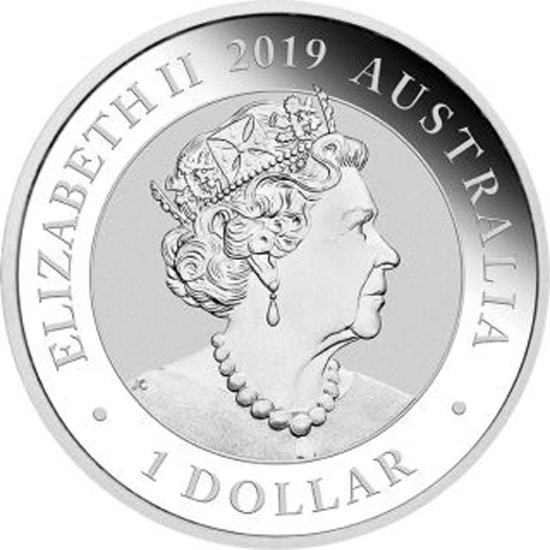 Rückseite:Australien : 1 Dollar Manucodia Paradiesvogel  2019 Stgl.