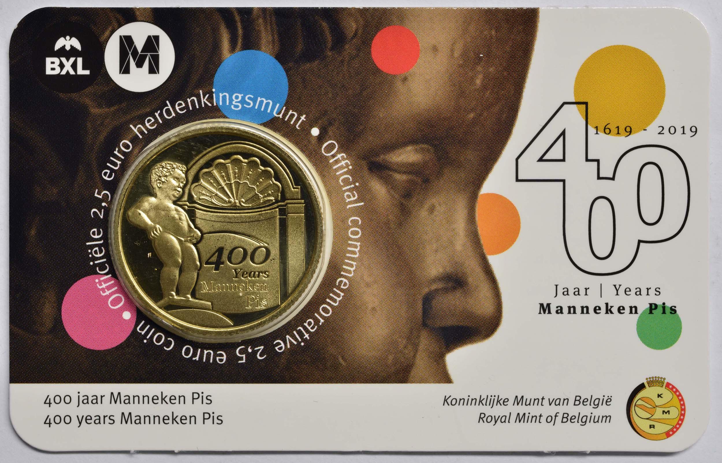 Lieferumfang:Belgien : 2,5 Euro 400 Jahre Manneken Pis  2019 Stgl.