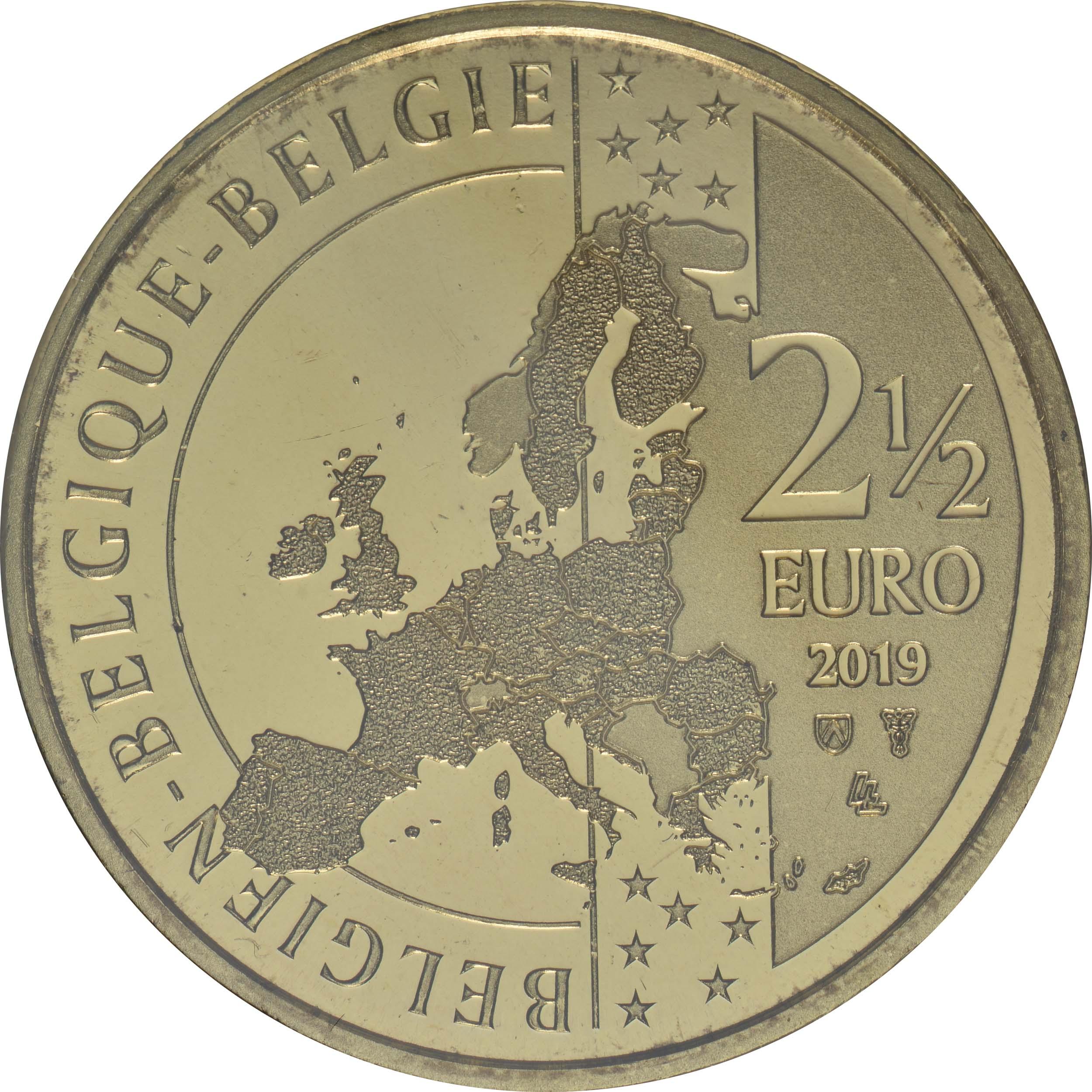 Rückseite:Belgien : 2,5 Euro 400 Jahre Manneken Pis  2019 Stgl.