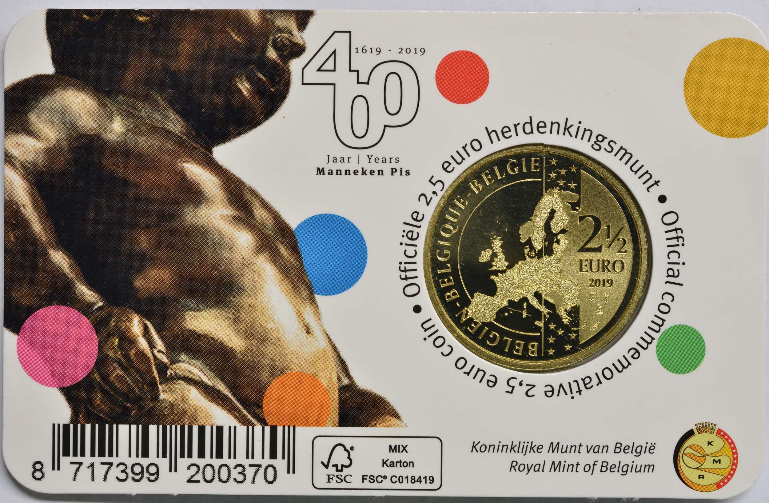 Zertifikat:Belgien : 2,5 Euro 400 Jahre Manneken Pis  2019 Stgl.