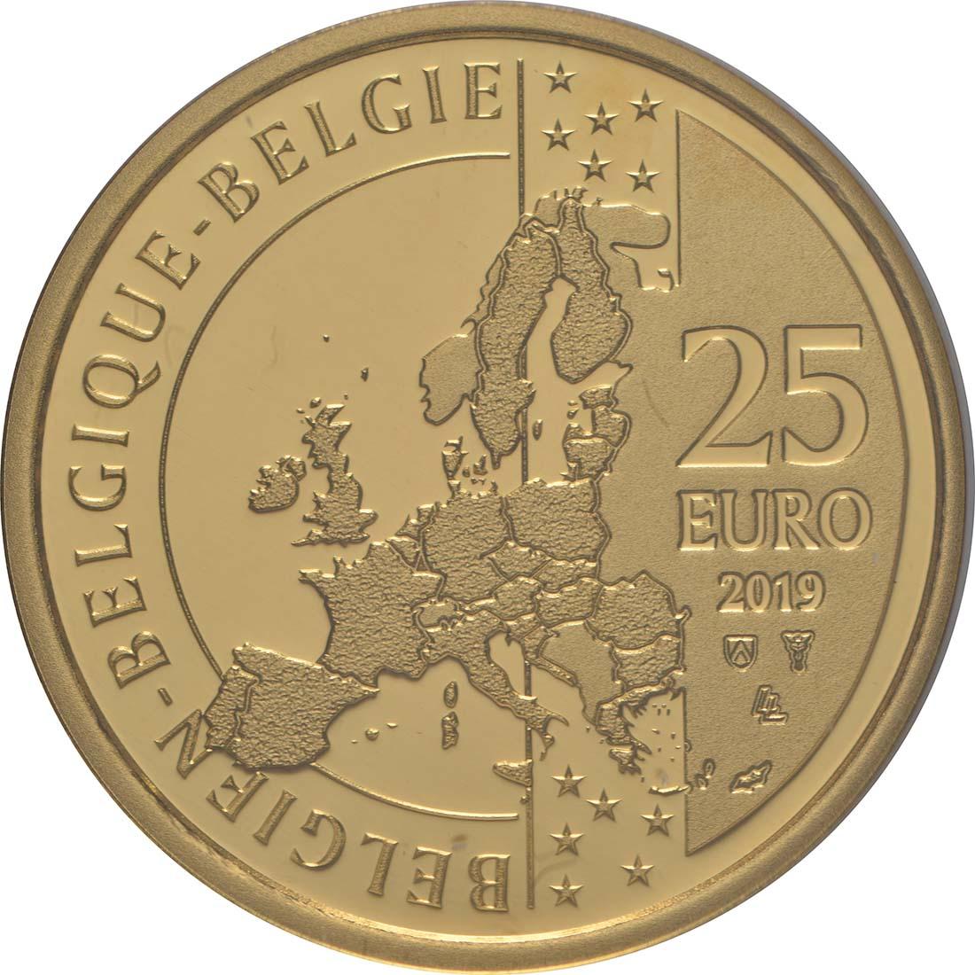 Rückseite:Belgien : 25 Euro Audrey Hepburn  2019 PP