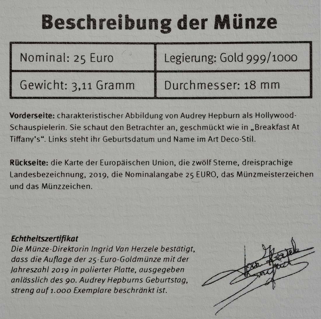 Zertifikat:Belgien : 25 Euro Audrey Hepburn  2019 PP