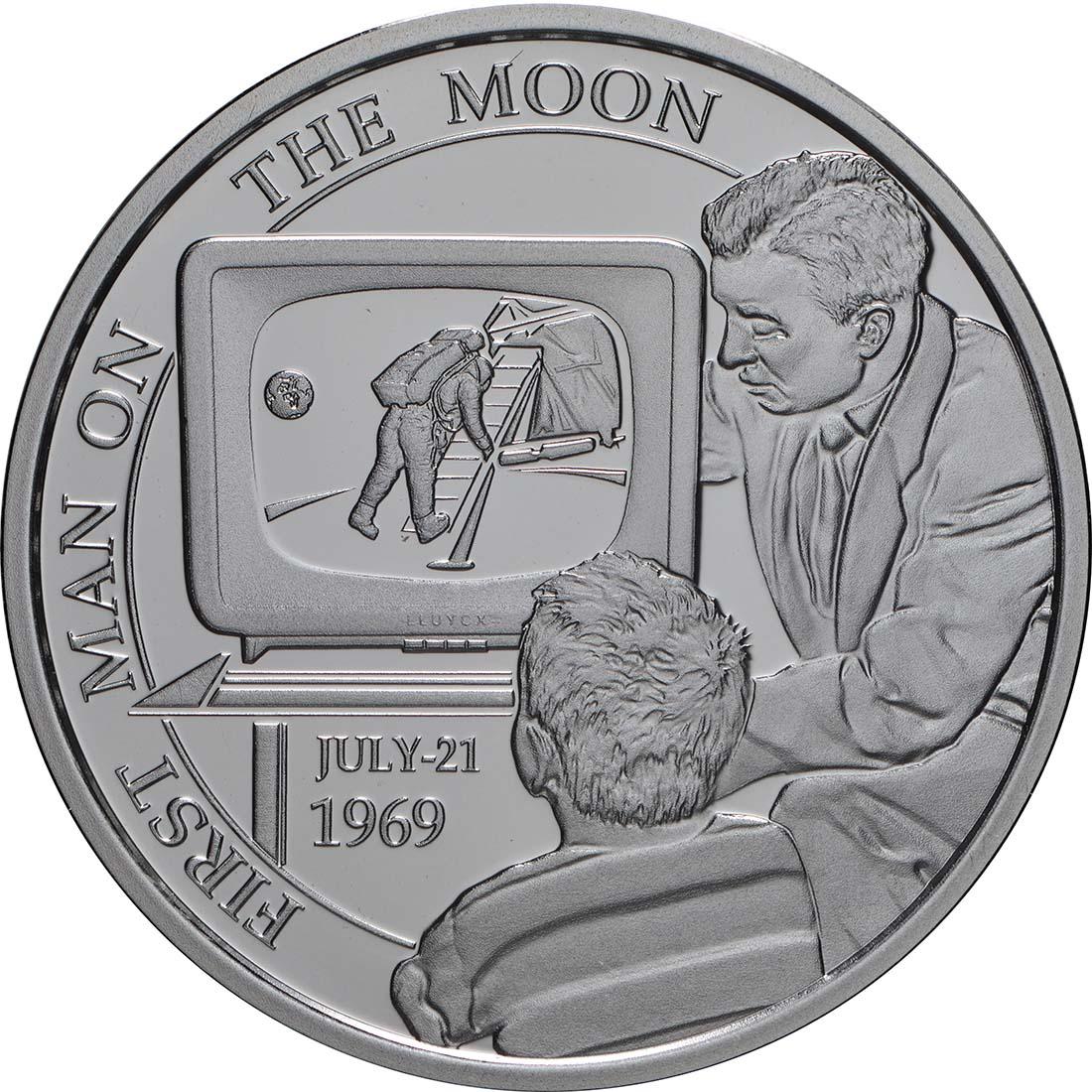 Vorderseite:Belgien : 5 Euro 50 Jahre erster Mensch auf dem Mond  2019 PP
