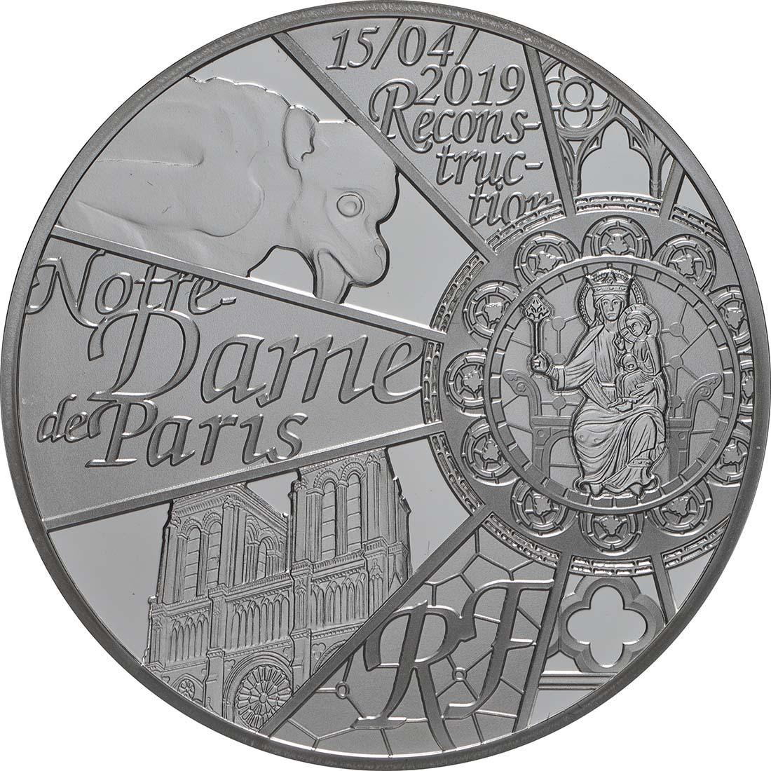 Vorderseite:Frankreich : 10 Euro Notre Dame  2019 PP