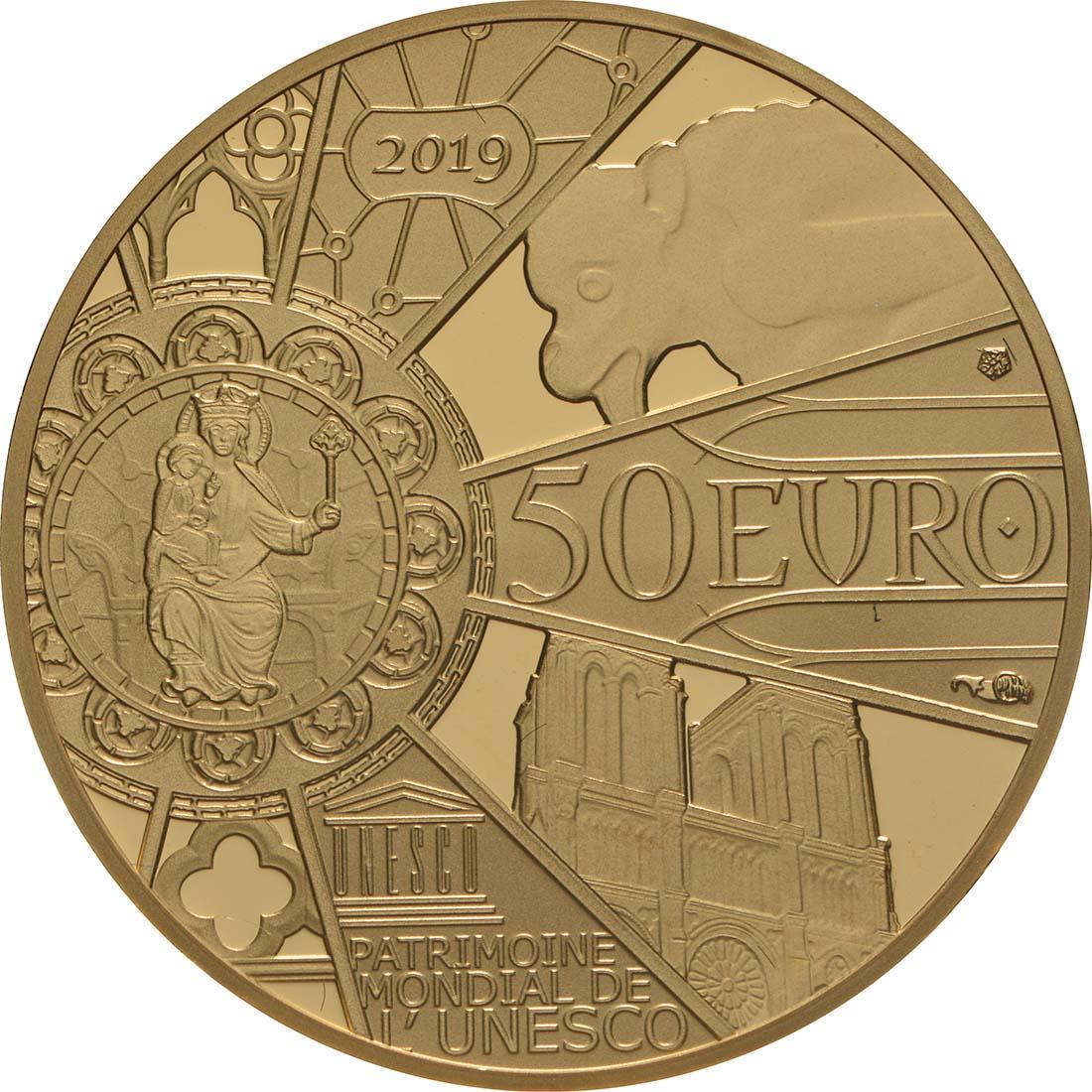 Rückseite:Frankreich : 50 Euro Notre Dame  2019 PP