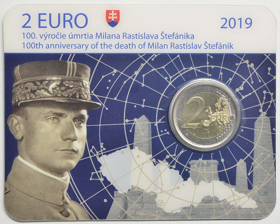 Lieferumfang:Slowakei : 2 Euro 100 Todestag von Milan Rastislav Stefanik  2019 Stgl.