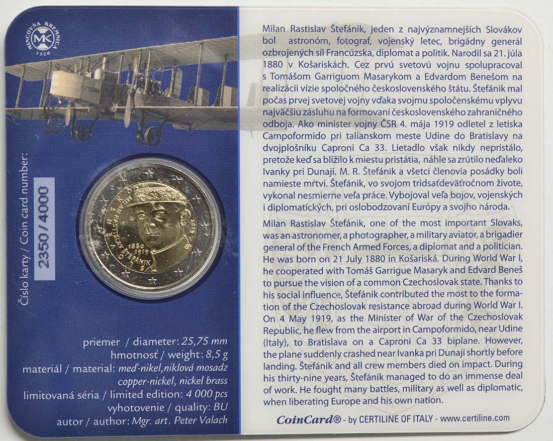 Zertifikat:Slowakei : 2 Euro 100 Todestag von Milan Rastislav Stefanik  2019 Stgl.