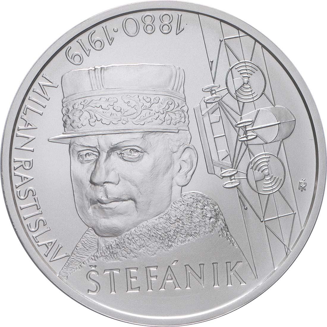 Vorderseite:Slowakei : 10 Euro 100. Todestag M. R. Stefanik (Pilot)  2019 Stgl.