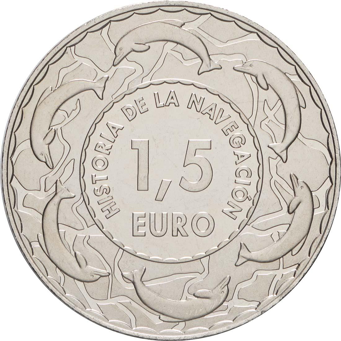 Rückseite:Spanien : 1,5 Euro Segelschiff 14. Jh. #9  2019 bfr