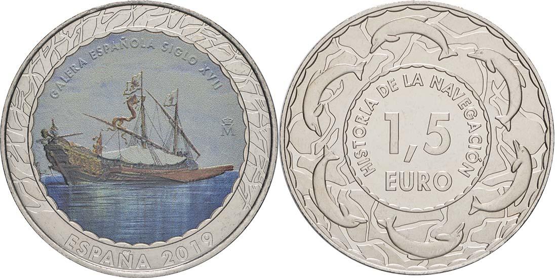 Lieferumfang:Spanien : 1,5 Euro Spanische Galeere 17. Jh. #11  2019 bfr