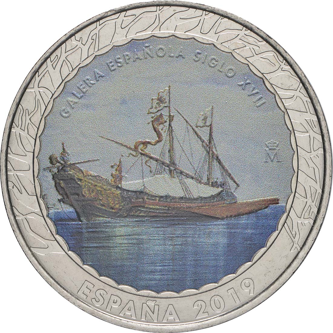 Vorderseite:Spanien : 1,5 Euro Spanische Galeere 17. Jh. #11  2019 bfr