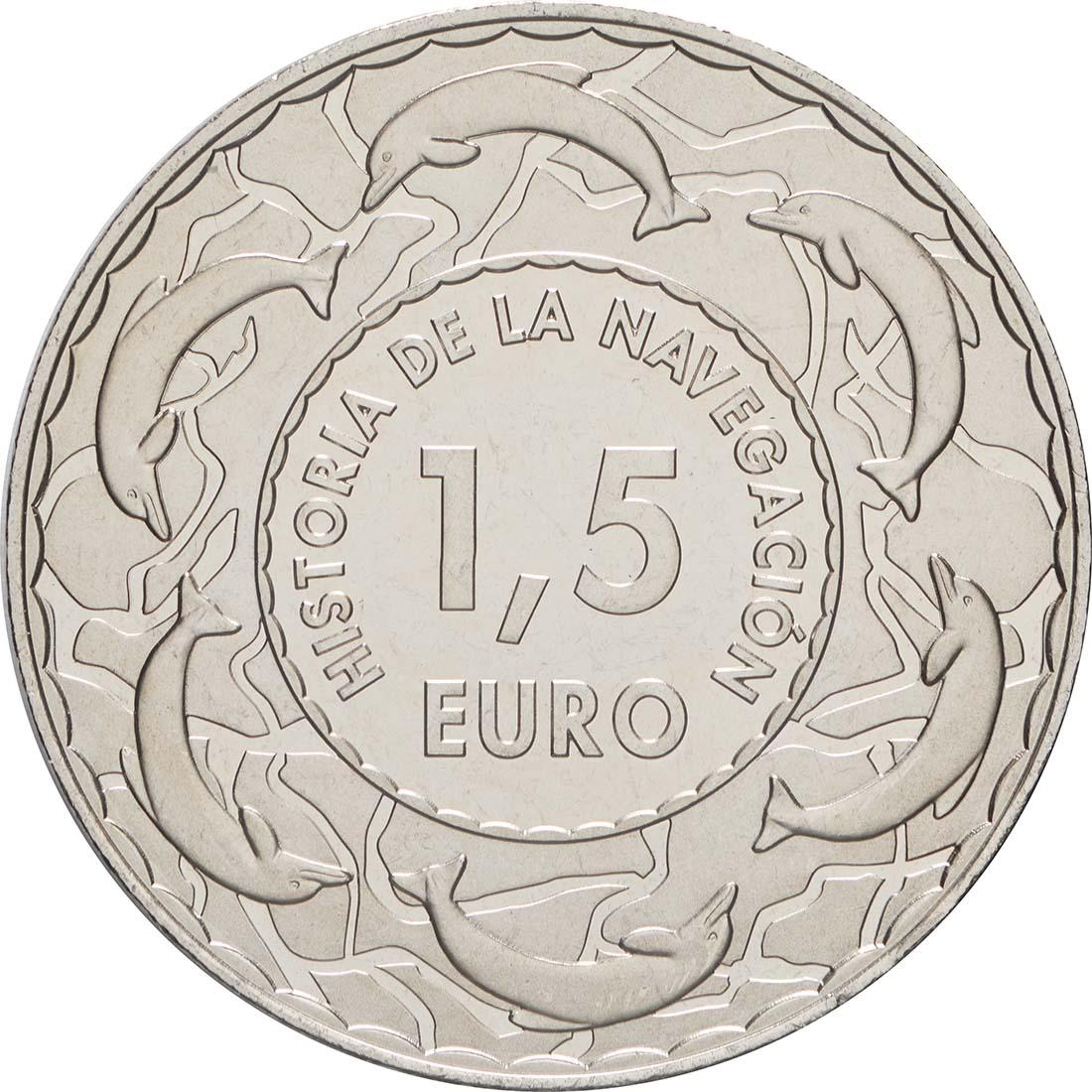Rückseite:Spanien : 1,5 Euro Karavelle #12  2019 bfr