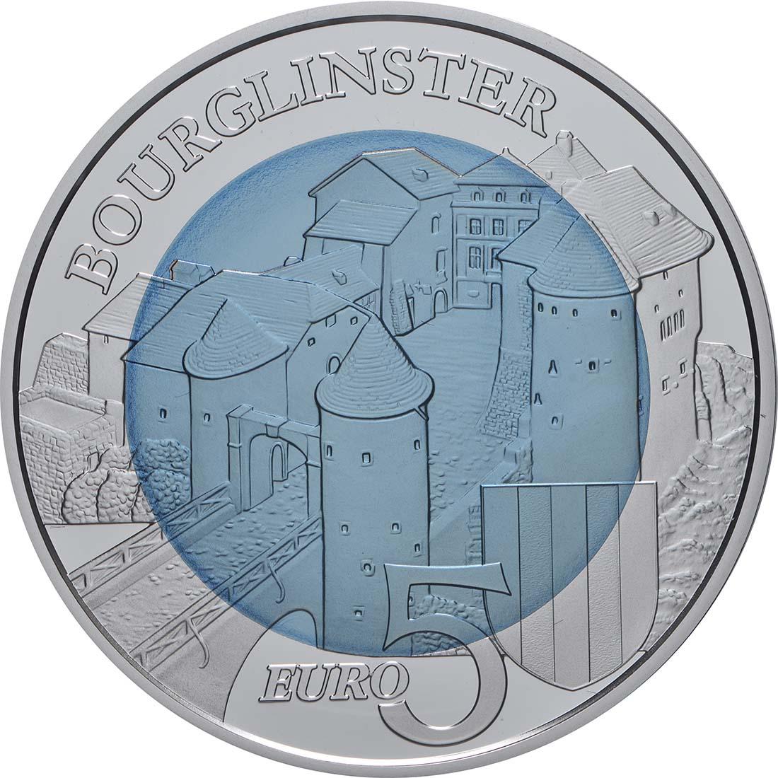 Vorderseite:Luxemburg : 5 Euro Schloss Bourglinster  2019 PP