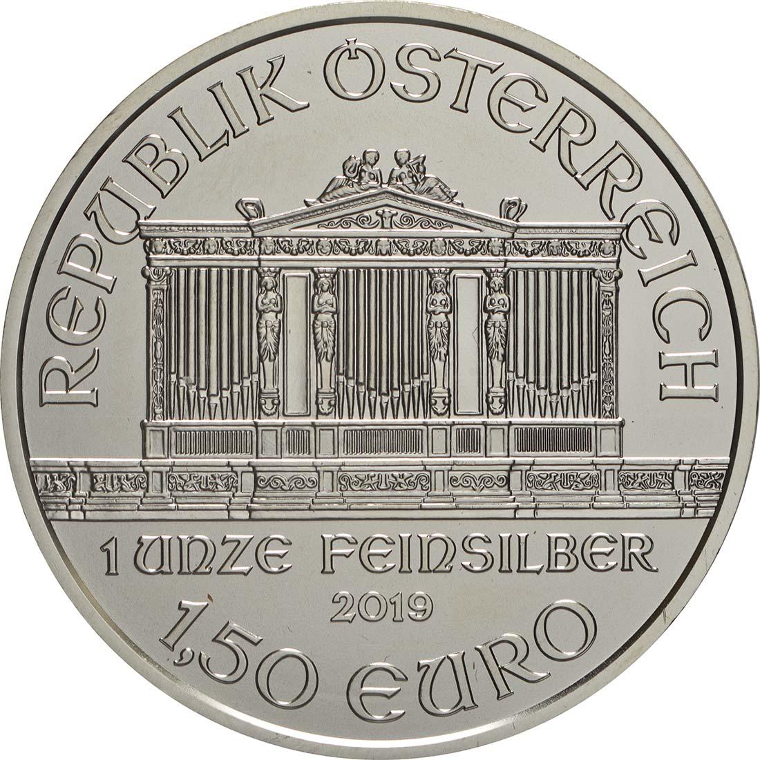 Rückseite:Österreich : 1,5 Euro Philharmoniker  2019 Stgl.