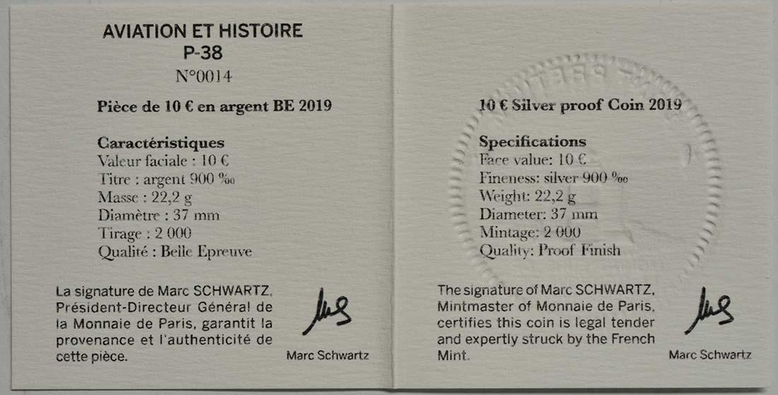Zertifikat:Frankreich : 10 Euro P38  2019 PP