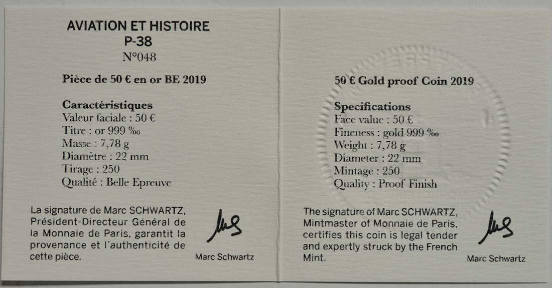 Zertifikat:Frankreich : 50 Euro P38  2019 PP