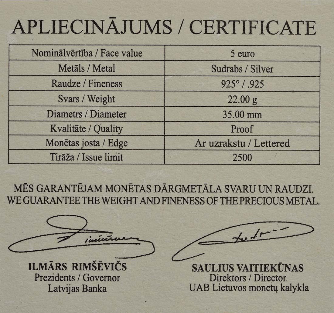 Zertifikat:Lettland : 5 Euro Katzen Mühle  2019 Stgl.