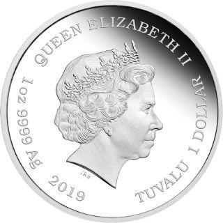 """Rückseite:Tuvalu : 1 Dollar 80 Jahre """"Vom Winde verweht""""  2019 PP"""