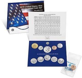 Rückseite:USA : 2x2,91 Dollar Jahressatz incl. 5x25 Cent  2019 Stgl.