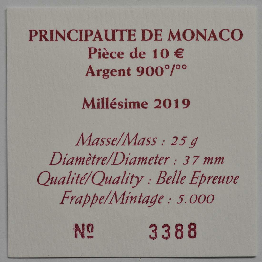 Zertifikat:Monaco : 10 Euro Grace Kelly  2019 PP