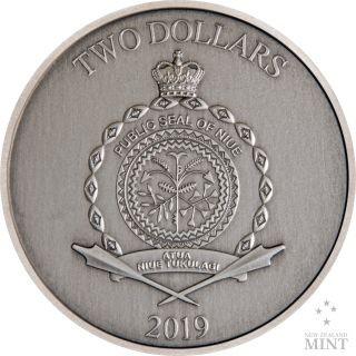 Rückseite:Niue : 2 Dollar Sindbad der Seefahrer - Märchen #2   1 oz  2019 Stgl.