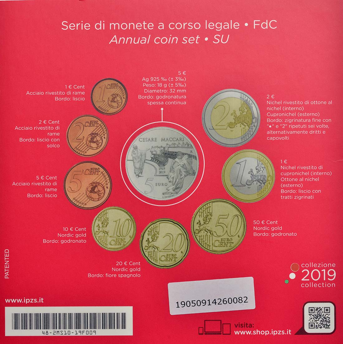 Zertifikat:Italien : 8,88 Euro KMS Italien incl. 5 Euro Cesare Maccari Si  2019 Stgl.