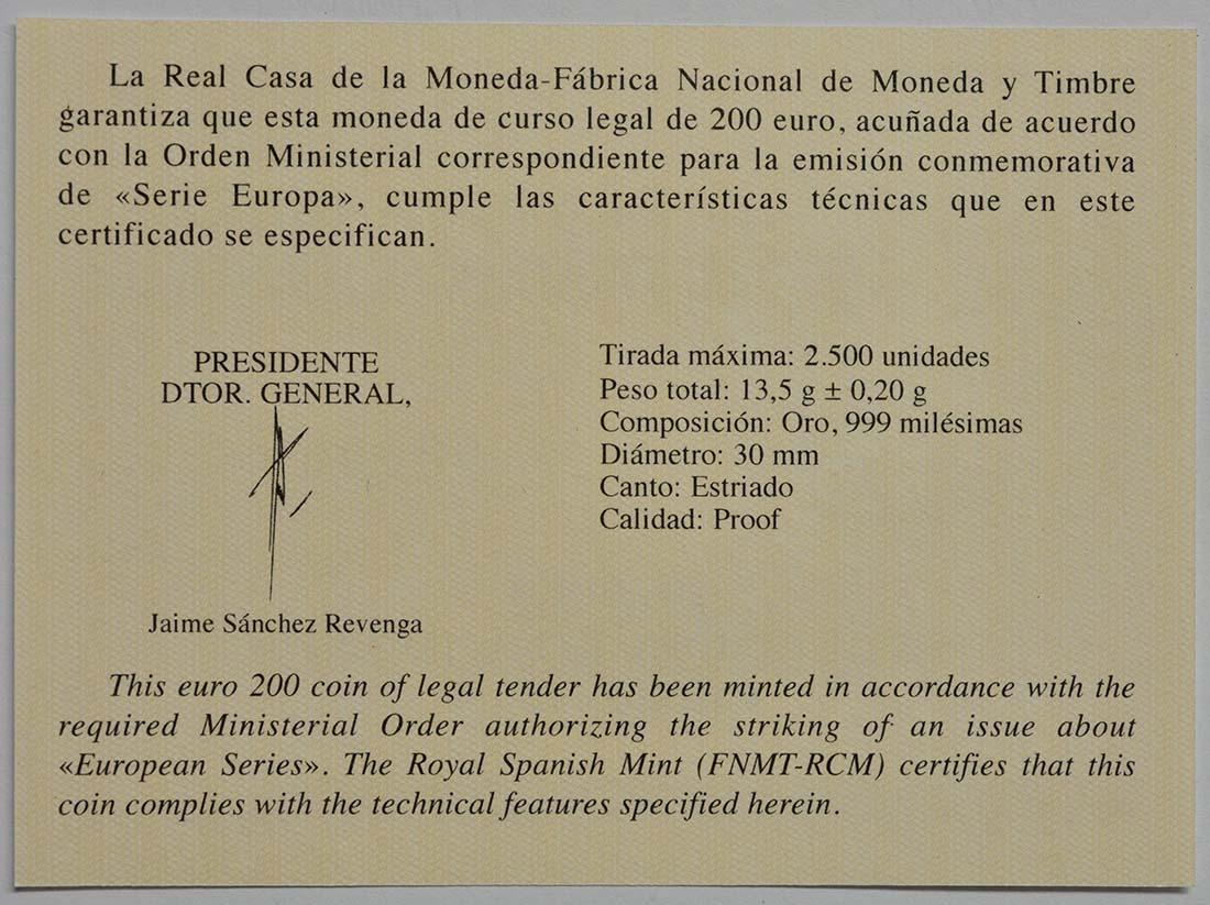 Zertifikat:Spanien : 200 Euro Rennaissance  2019 PP