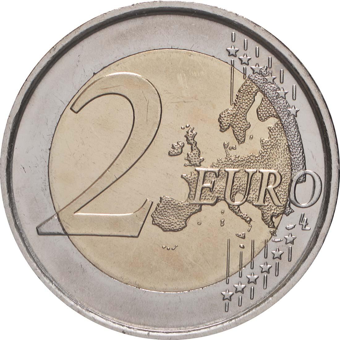 Vorderseite:Spanien : 2 Euro 10 Jahre Euro - Variante große Sterne  2009 bfr