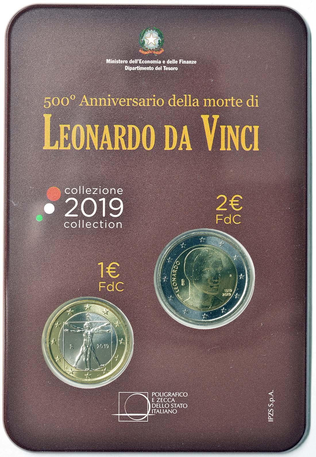Rückseite:Italien : 3 Euro 2+1 Euro 500. Todestag Leonardo Da Vinci-Set Blister  2019 Stgl.