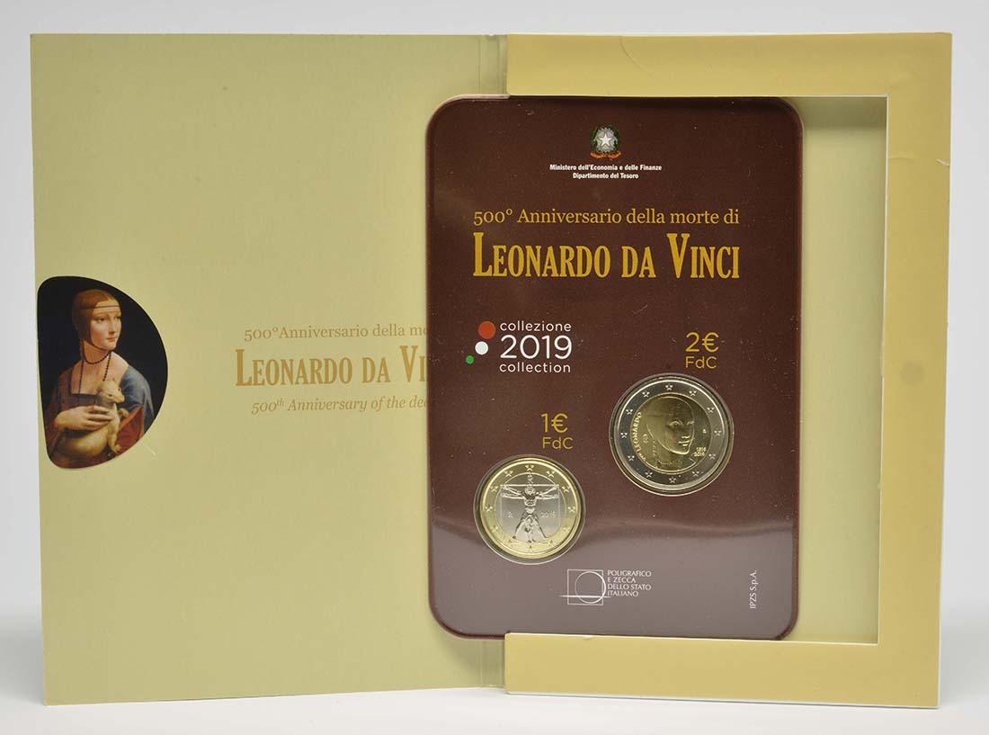 Lieferumfang:Italien : 3 Euro 2+1 Euro 500. Todestag Leonardo Da Vinci-Set Blister  2019 Stgl.
