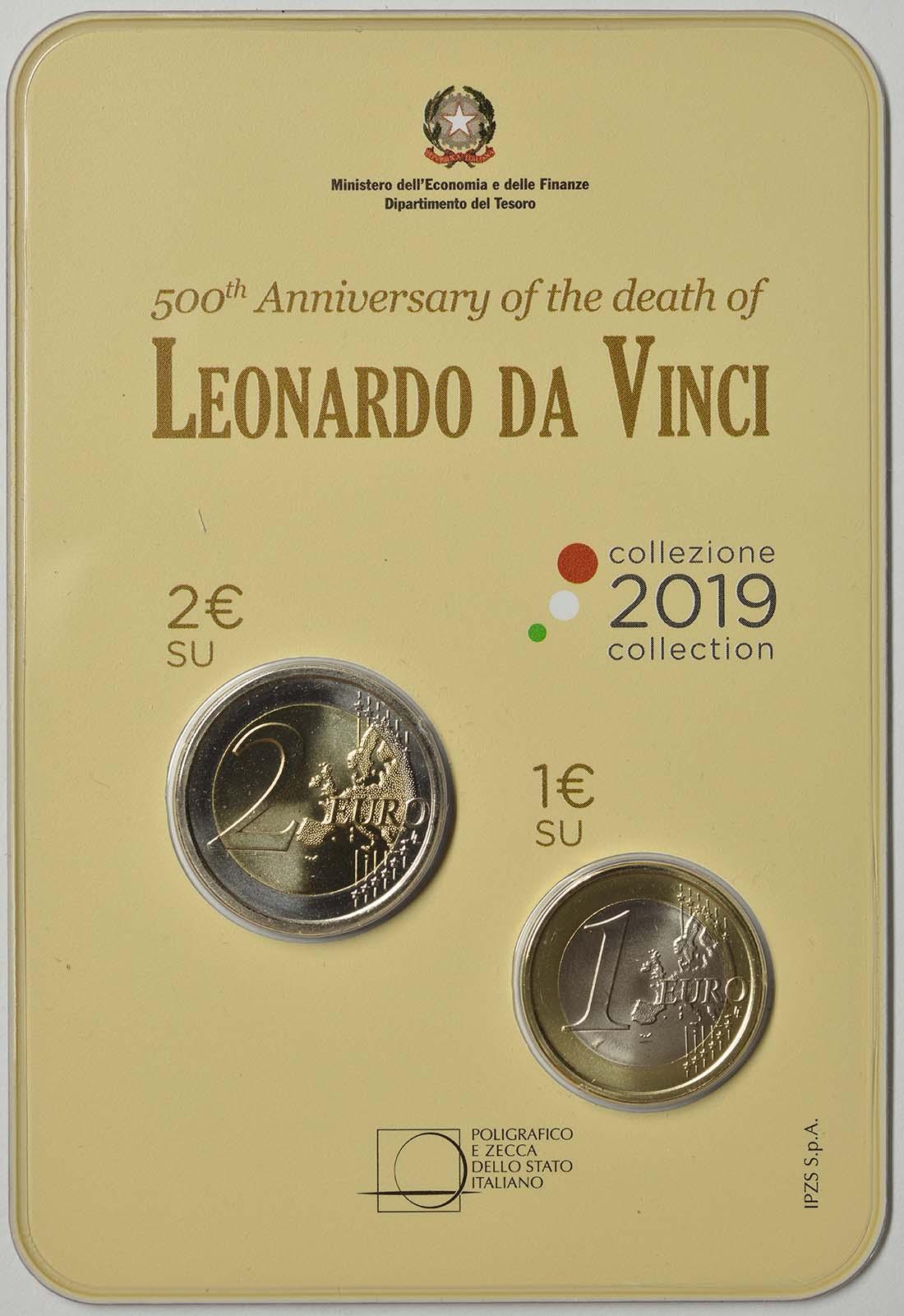 Vorderseite:Italien : 3 Euro 2+1 Euro 500. Todestag Leonardo Da Vinci-Set Blister  2019 Stgl.