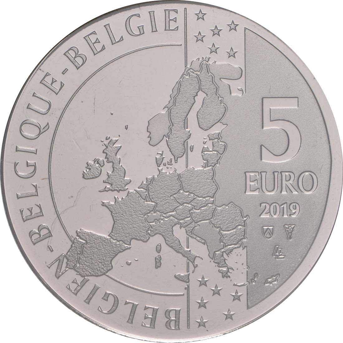 Rückseite:Belgien : 5 Euro 75 Jahre D-Day  2019 bfr