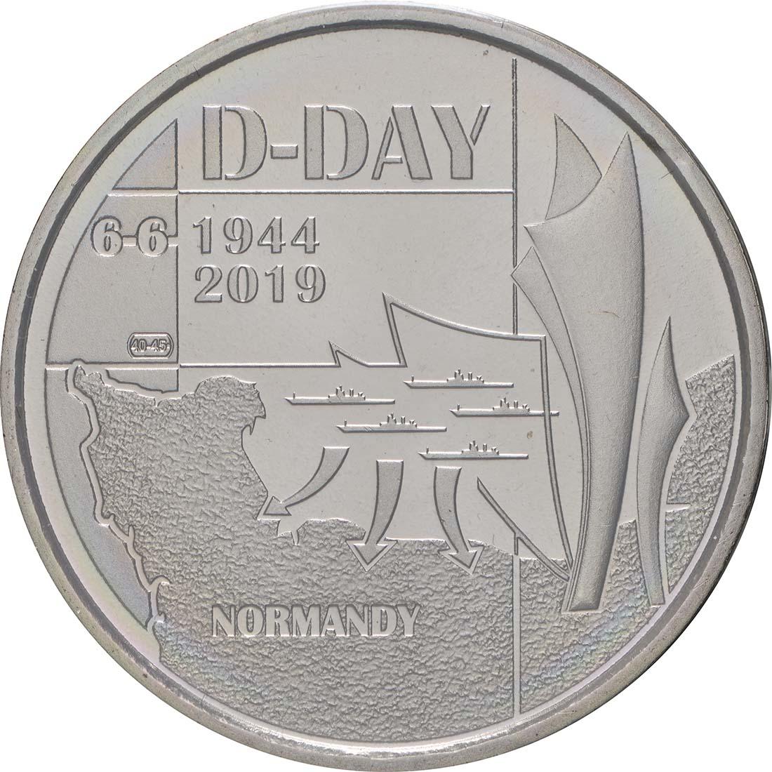 Vorderseite:Belgien : 5 Euro 75 Jahre D-Day  2019 bfr