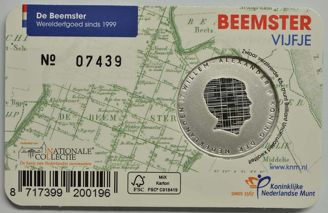 Zertifikat:Niederlande : 5 Euro Beemster  2019 Stgl.