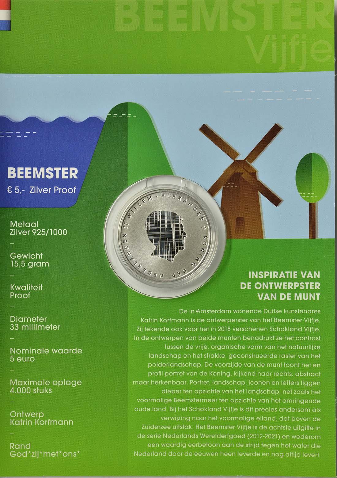 Zertifikat:Niederlande : 5 Euro Beemster  2019 PP