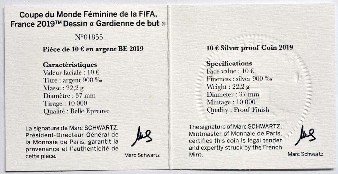 Zertifikat:Frankreich : 10 Euro Torwart  2019 PP