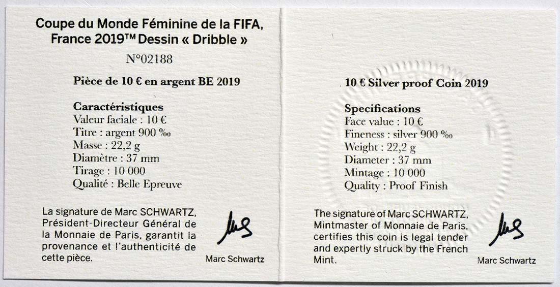 Zertifikat:Frankreich : 10 Euro Dribbling  2019 PP