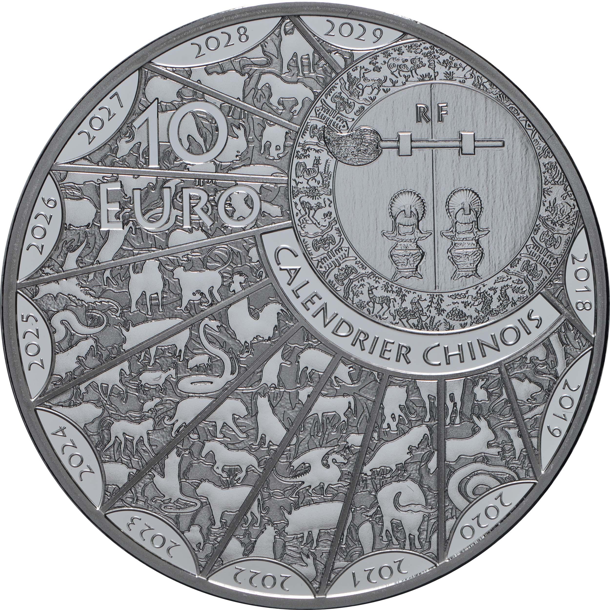 Rückseite:Frankreich : 10 Euro Jahr der Ratte  2020 PP