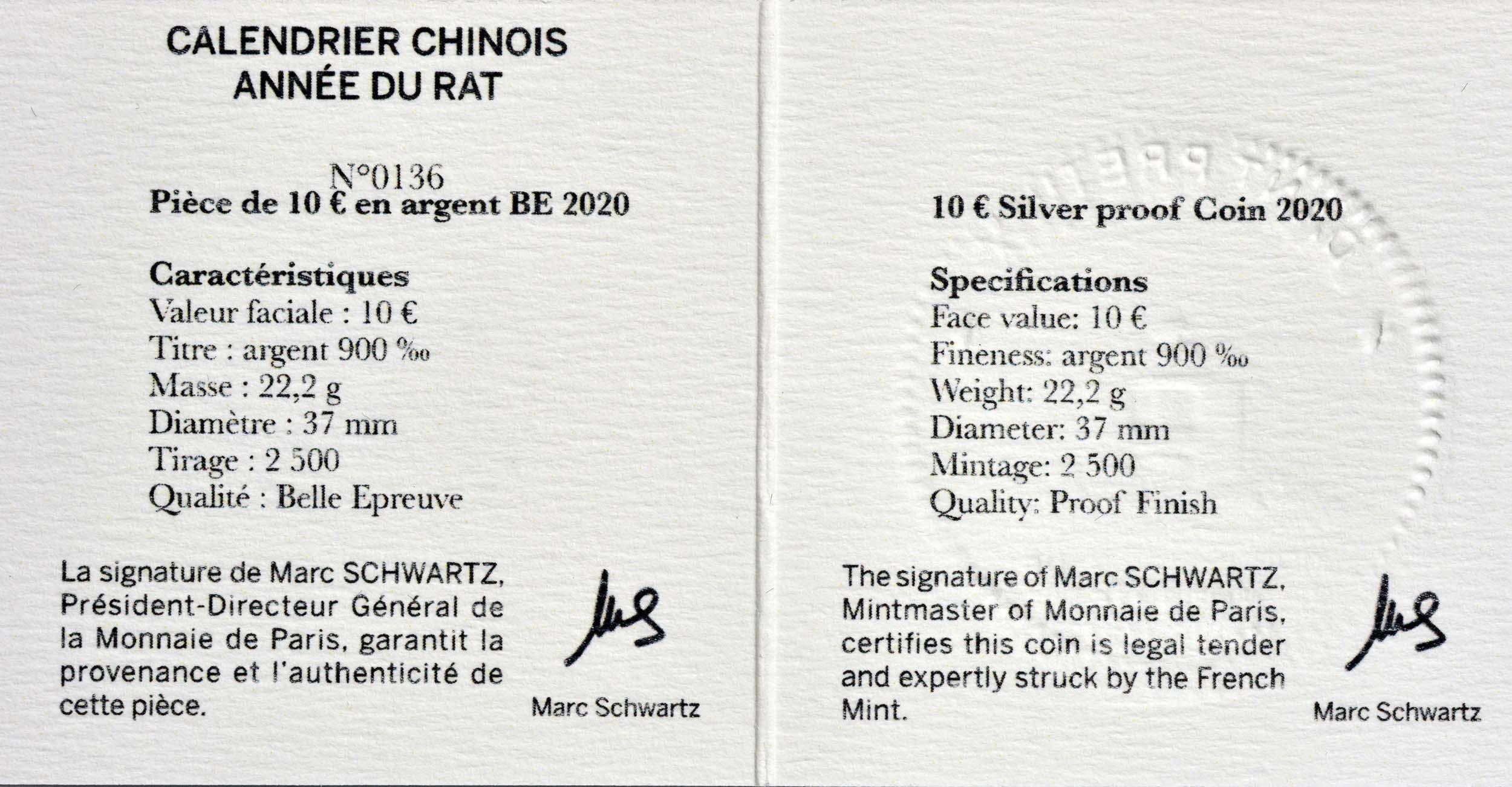 Zertifikat:Frankreich : 10 Euro Jahr der Ratte  2020 PP