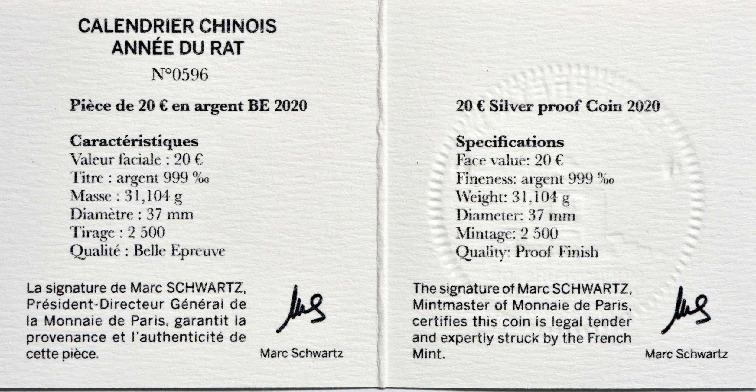 Zertifikat:Frankreich : 20 Euro Jahr der Ratte  2020 PP