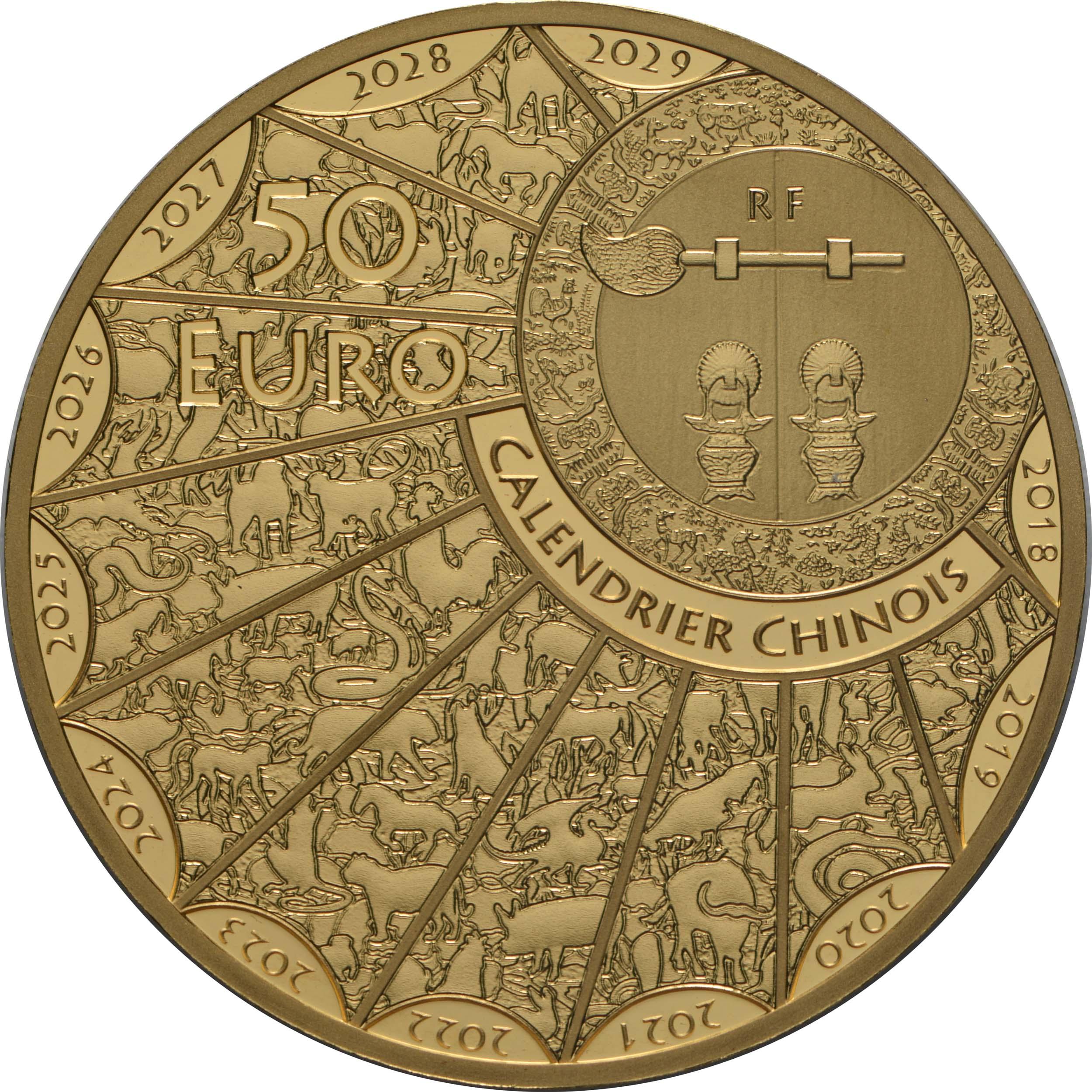 Rückseite:Frankreich : 50 Euro Jahr der Ratte  2020 PP