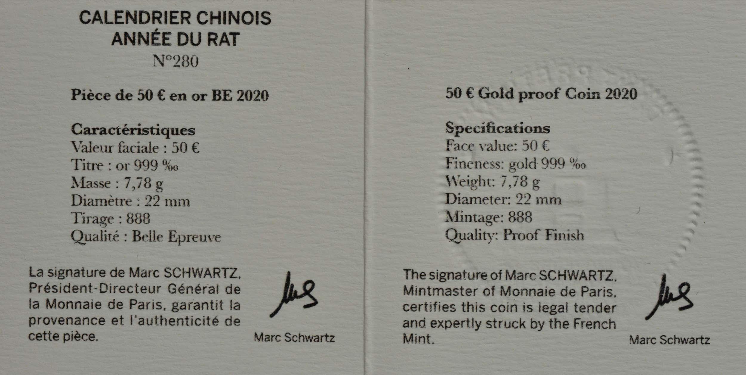Zertifikat:Frankreich : 50 Euro Jahr der Ratte  2020 PP